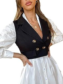 SheIn Women's Double Breasted Sleeveless Crop Blazer Vest Lapel Collar Outerwear