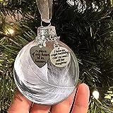 Bola de plumas de adorno conmemorativo de Navidad transparente, bola de plumas Moonlite, un pedazo de mi corazón está en el cielo, colgante de Navidad conmemorativo de alas de ángel, adornos de