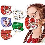 Weihnachten 50 Stück Kinder Mundschutz Einweg 3D Druck Mund und Nasenschutz Halstuch Masken Weihnachten Motiv 3-lagig Einmal MNS Mund-Tuch Staubdicht Atmungsaktiv Tücher Bandana Schals Jungen Mädchen
