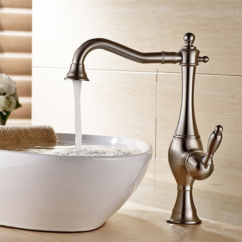 AQMMi Bathroom Vanity Sink Faucet Brass Nickel Brushed 360°redatable Hot and Cold Water Bathroom Basin Sink Tap Bathroom Faucet