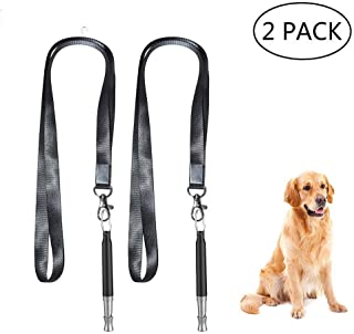 JBER Dog Whistle, Dog Training Whistle to Stop Barking Adjustable Frequency Ultrasonic Sound Training Tool Dog Bark Control with Free Premium Quality Lanyard 2 Pack Black Pet Whistle