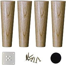 Ligstoelen 4 stuks taps toelopende houten bankvoeten massief houten meubelsteunpoot tv-kastvoeten vervanging voor salontaf...
