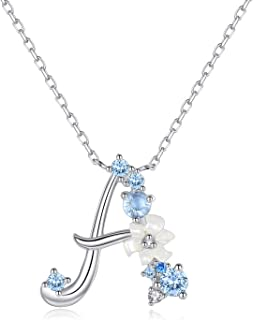 Sterling Silver Initial Necklace Cubic Zirconia Personalized Gifts for Girls Women