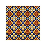 RAUP Satin Napkins Set of 6, Mexican Stylized Talavera Tiles Seamless Pattern,Square Printed Party & Dinner Cloth Napkins,20' X 20'