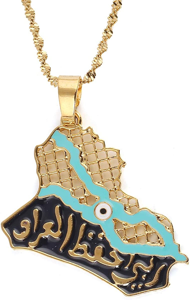 Iraq Map Pendant Necklaces for Women Men Muslim Iraqi Jewelry Allah Necklace Blue Eye Gold Color Islam