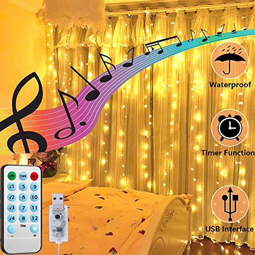 FANSIR USB Curtain Lights, New LED Fairy Window Lights 4 Music & 8 Lighting Modes Remote Timer Fairy Lights 200 LED Waterproof Copper String Lights for Wedding Party Garden Decor(Warm White)