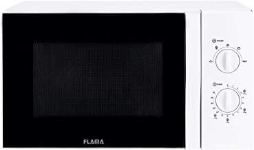Flama Microondas Blanco 1804FL, 800W, Capacidad de 23L, 5 Programas Automáticos, Función de Descongelación, Interior Antiadherente