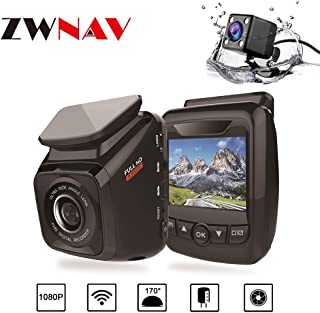 Dual Dash Cam Front and Rear 1080P Full HD DVR Car Recorder with Rearview Camera Buit-in GPS 170 Degree Wide Angle, ADAS, G-Sensor, WDR, Loop Recording, Built-in WiFi, Night Vision