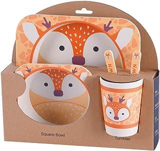 Arichtop Enfants Arts de la Table Set 5pcs bébé Cartoon Fibre de Bambou Bol Animal de Vaisselle Enfant en Bas âge Coupe Fo...