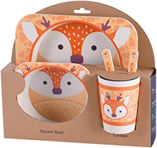 Arichtop Enfants Arts de la Table Set 5pcs bébé Cartoon Fibre de Bambou Bol Animal de Vaisselle Enfant en Bas âge Coupe Fo...