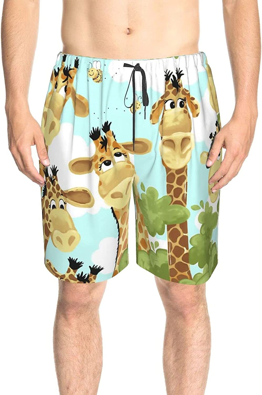 JINJUELS Mens Bathing Suits Cute Giraffe Forests Swim Board Shorts Drawstring 3D Printed Swimming Trunks with Mesh Lining