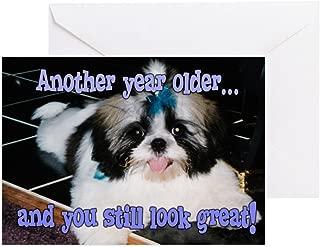 CafePress Birthday Shih Tzu Puppy Blue Bow Greeting Card, Note Card, Birthday Card, Blank Inside Matte
