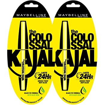 Maybelline New York Colossal Kajal, Black, 0.35g (Pack of 2 at 30% off)
