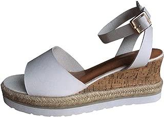 Lotus.Flower Retro Womens Fashion Open Toe Ankle Platform Wedges Shoes Ladies Roman Sandals