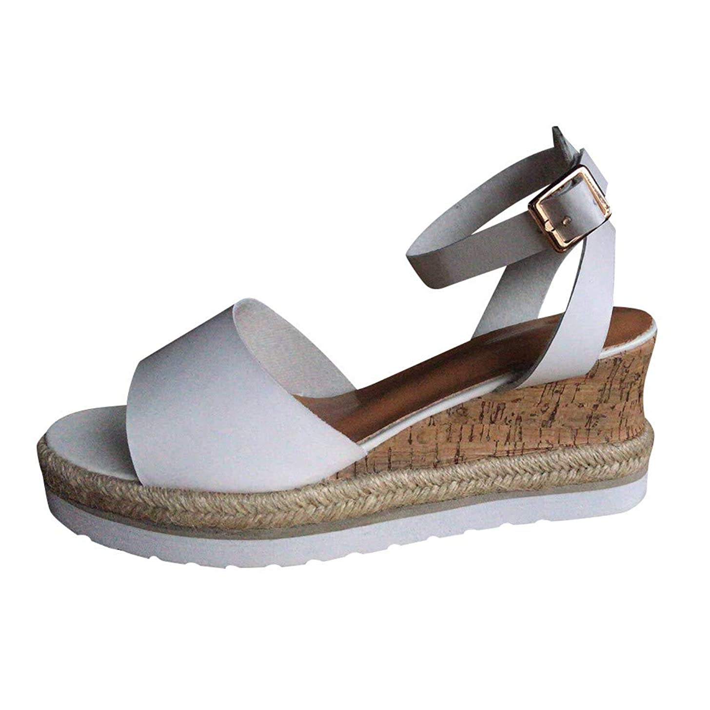 Women's Casual Peep Toe Thick Bottom Shoes Solid Sweet Single Buckle Platform Wedges Sandals JHKUNO
