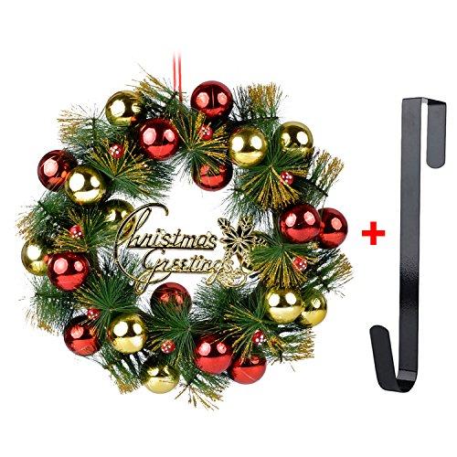 Corona de Navidad, Guirnalda de la Puerta de 16 '' Campanas de Pino Artificial de la Navidad Guirnalda de la Puerta...