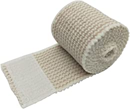 Cotton Elastic Bandage 6 Pack. 2 Inches Wide x (13 to 15 ft. When Stretched) with Hook and Loop Closure on Both Ends, Latex Free Bandage. Perfect Compression Wrap for Varicose Veins,Sprained Ankle