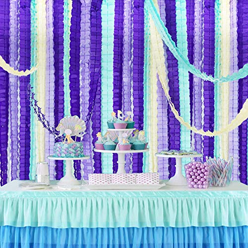 12 pcs Mermaid Four Leaf Clover Paper Garland 120ft Purple Lavender Party Streamers Tissue Flower Reusable Hanging Banner for Wedding Baby Bridal Shower Home Party Backdrop Decoration