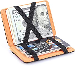 Magic Creative Men's Leather Wallets for Credit Card and Cash (Color : Orange)