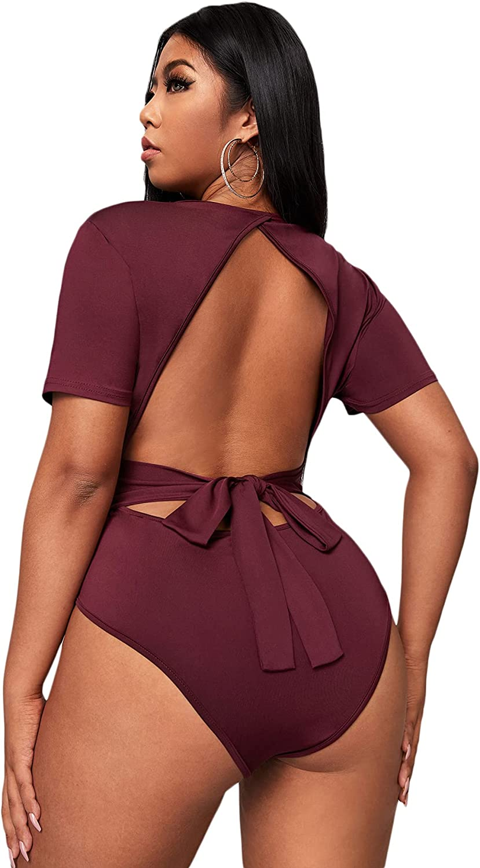 SheIn Women's Plus Short Sleeve Scoop Neck Backless Tie Back Tee Bodysuit Tops