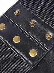Elastic Wide Waist Belt Tied Corset Waist Band Cinch Belt with Metal Press Button, Black, 72 x 15 cm #3