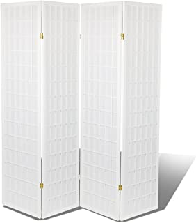 Magshion Oriental Room Divider Hardwood (White, 4-Panel),