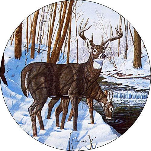 LYMT Deer Winter Bliss Buck Doe Winter Creek Snow Snow Cubierta de neumático de Repuesto para Aperturas de cámara de Respaldo montadas centradas (255 / 70r18)