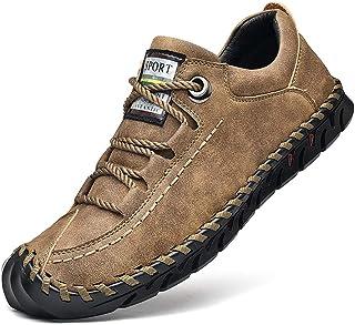 Cmaocv - Mocasín de piel para hombre, ligero, de encaje, hecho a mano, deportivo, atlético, zapatos de trabajo
