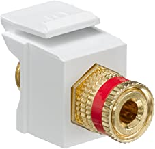 Leviton 40833-BWR QuickPort Binding Post Adapter with Red Stripe, White