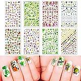 PHOGARY Verano Pegatinas Uñas para Niñas, Nail Art Stickers Decoración Uñas Flor Frutal Hoja Calcomanías Arte de Uñas Pegatinas
