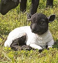 Plow & Hearth 54010-BK Resting Lamb Suffolk Sheep Resin Garden Statu, Black