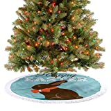 ThinkingPower - Falda para árbol de Navidad, diseño de conejo de chocolate con lazo, decoración para árbol de Navidad, diámetro de 121 cm