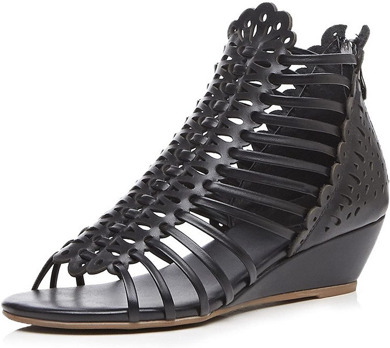 AmoonyFashion Women's Zipper Cow Leather Open-Toe Low-Heels Solid Sandals
