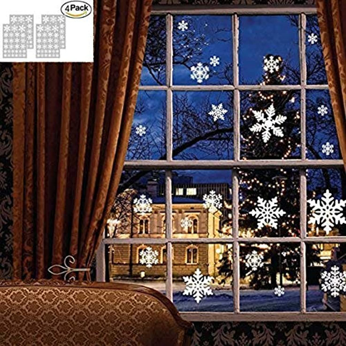 Snowflake Decorations Christmas Window Cling Stickers,Xmas Snowflake Ornaments for Living Room,Party,Wedding,4 Sheet 108 pcs (Snowflake Stickers)