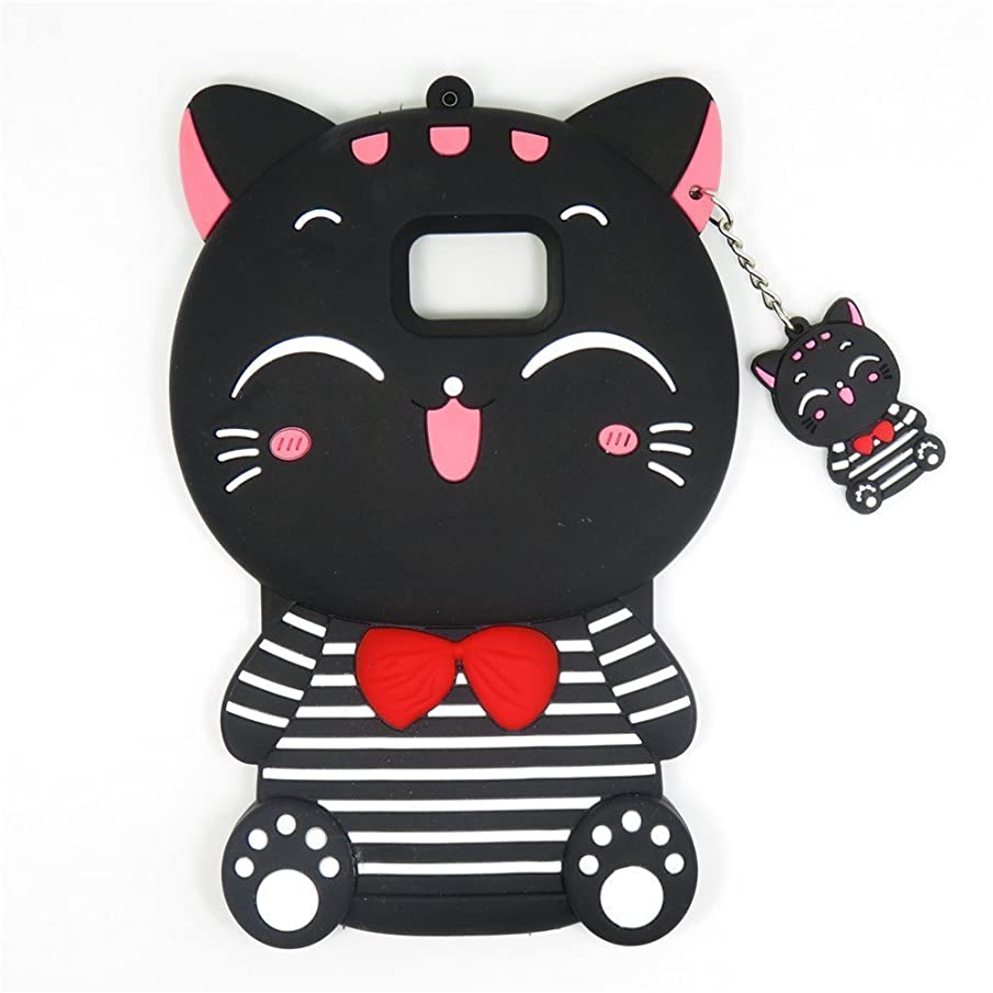 DiDicose Fashion 3D Cartoon Animal Characters Black Lucky Fortune Plutus Cat Kitty Silicone Rubber Phone Case Cover for Apple iPhone 6 6S 7 7S Plus Samsung Galaxy S5 S6 S7 S8 Edge LG Moto Huawei etc.