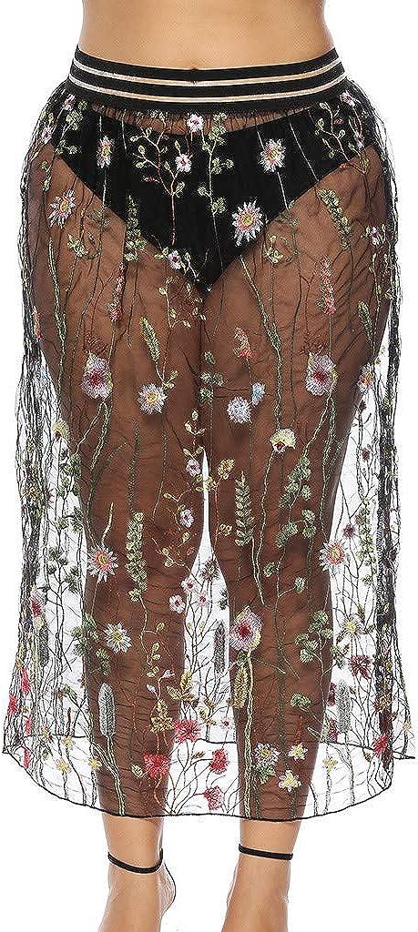 Women Embroidery Quick Wrap Bikini Cover-up Multitasks Travel Beach Summer Black Skirt