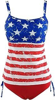 Women Two Piece Tankinis with Boyshorts Backless Bathing Suit Criss Cross Swimwear American Flag Print Beacwear