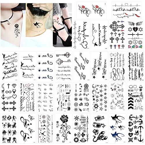 Konsait Tatouages temporaires pour adulte femmes hommes enfants (30 feuilles), tatouage temporaire imperméable faux noir tatouages minuscules Body Art autocollant main cou cache-poignet Couvrir Set
