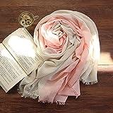 LLZWJ Bufanda de Rayas para Mujer de Dos Colores, Grande, Fina, decoración, Regalo o Mosaico, A Powder