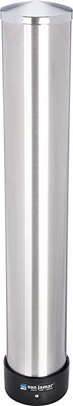 San Jamar C3200P Stainless Steel Pull Type Beverage Cup Dispenser Fits 6oz To 10oz Cup Size 2 7 32 To 3 3 16 Rim 23 1 2 Tube Length