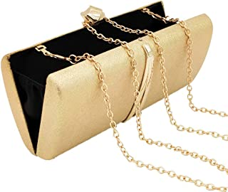 Banquet Wedding Ladies Evening Bag Square Party Fashion Bride Dress Clutch Chain Cross Shoulder Bag Ms. Wallet Size: 19 * 9 * 4cm Fashion (Color : Gold)