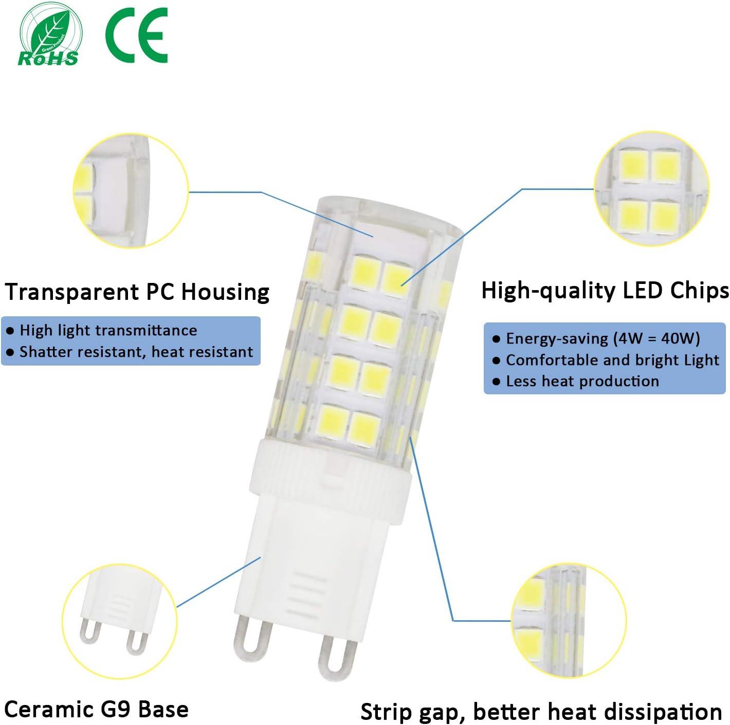 40W G9 Halogen Equivalent 110-130V G9 Daylight White 6000K LED ...
