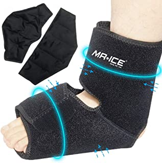 Foot Ankle Pain Relief Ice Pack Wrap with 2 Gel Hot Cold Therapy Packs - Great for Sprained Ankle, Achilles Tendon Injuries, Plantar Fasciitis, Bursitis & Sore Feet