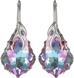 Crystal Diva Women's Silver Blue and Purple Swarovski Elements Earrings