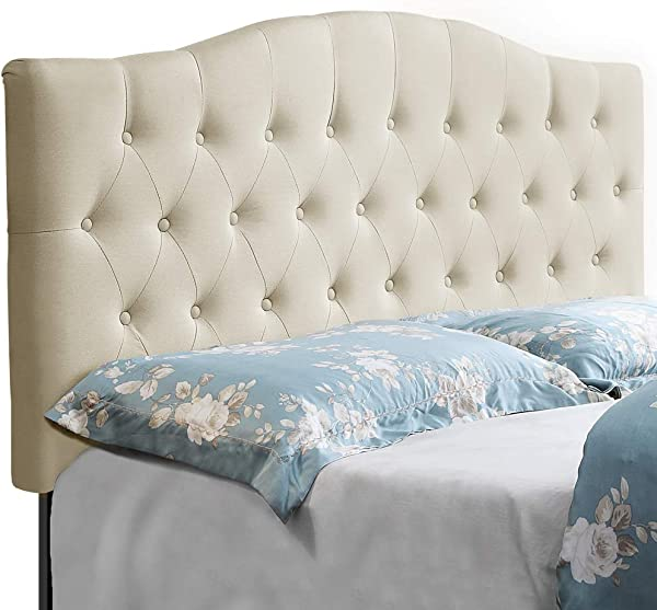 HOME BI Upholstered Tufted Button Curved Shape Linen Fabric Headboard Full Queen Size Beige