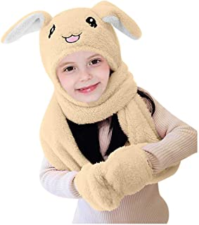 Benficial Cute 3 in 1 Hat Glove Scarf Can Move Airbag Magnet Cap Plush Dance Rabbit Ear
