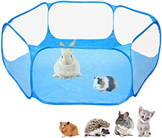 Amakunft Small Animals C&C Cage Tent, Breathable & Transparent Pet Playpen Pop Open Outdoor/Indoor Exercise Fence, Portabl...