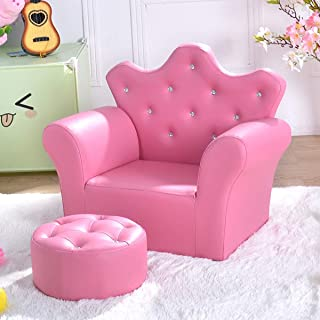 Costzon Kids Sofa, PU Leather Princess Sofa with Embedded Crystal, Upholstered Armchair with Ottoman, Perfect for Girls (Pink/ Sofa with Ottoman)