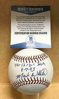 Mark Whiten 4hr 12 Rbi's 1 Game 9-7-93 Signed M.l. Baseball Beckett G94089 - Beckett Authentication - Autographed Baseballs