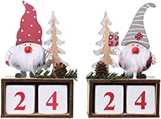 Amosfun 2 Pcs Christmas Wooden Advent Calendar Santa Claus Reindeer Pattern Perpetual Calendar Xmas Tabletop Decor For Xmas Party Favors